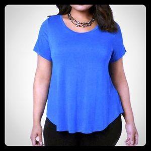 Blue Hi-Low Short Sleeve Crewneck Top Plus 0X